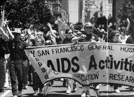 1991 Lesbian/Gay Freedom Day Parade in San Francisco. (UCSF Archives and Special Collections)