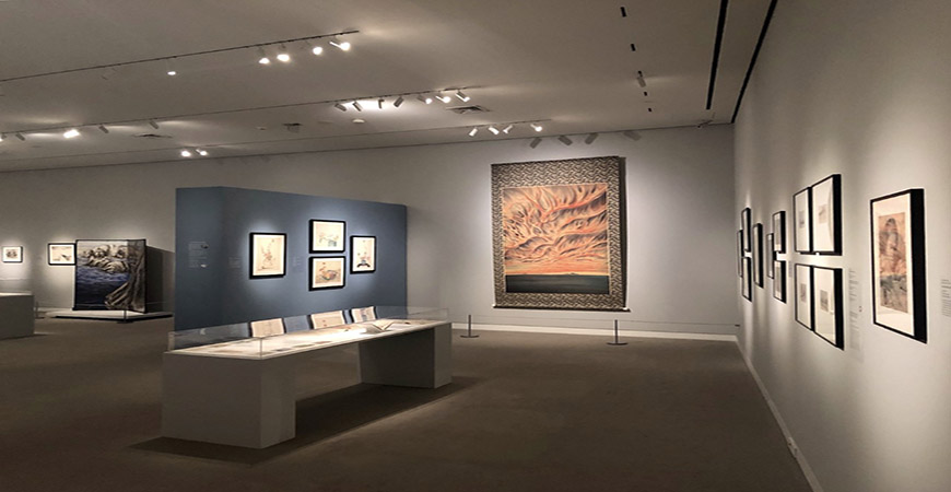 """ShiPu Wang's curated exhibition titled """"Chiura Obata: An American Modern"""" on display at the Crocker Museum in Sacramento."""
